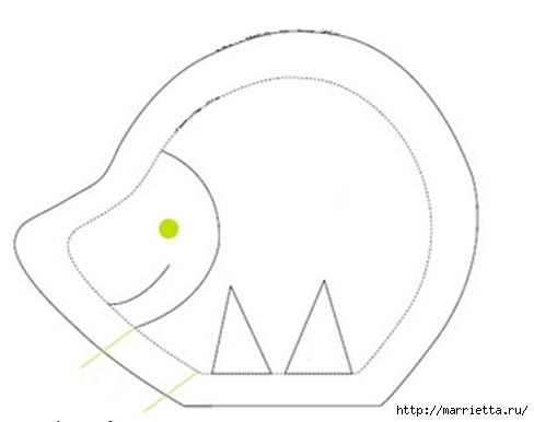 ежик и дикобраз из ткани. выкройка (1) (488x386, 37Kb)