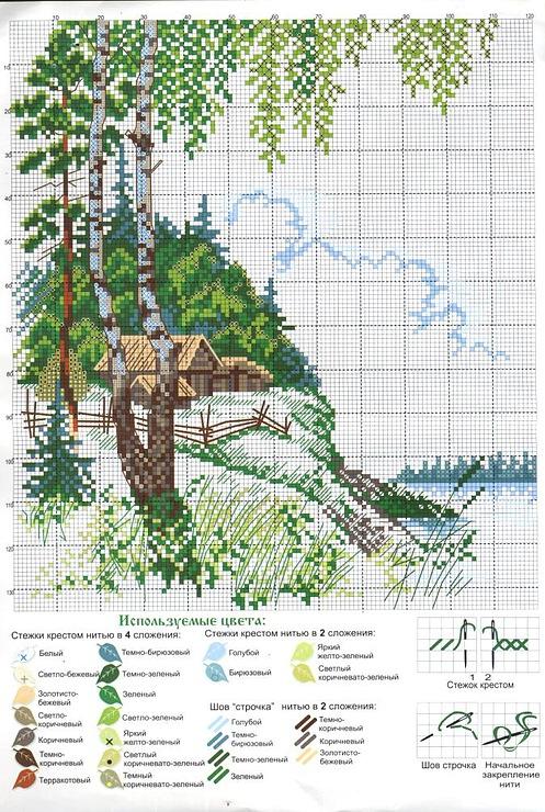 Скачать бесплатно схемы вышивки крестиком пейзаж