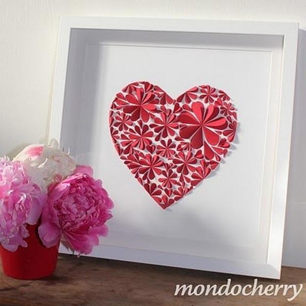 Сердце из бумажных цветов своими руками