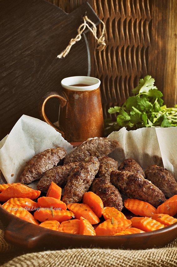 Люля-кебаб и запеченная морковь на гарнир