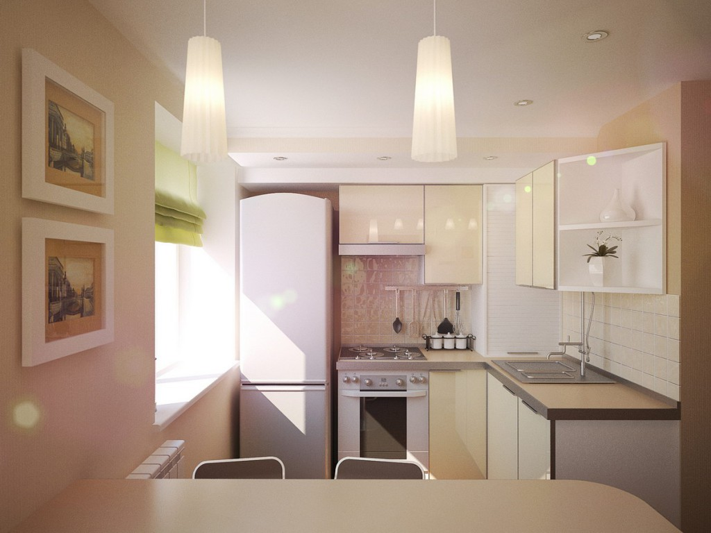 кухня в хрущевке с холодильником
