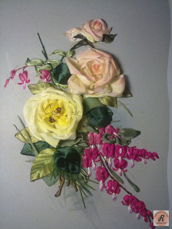 Вышивка лентами уланова вышивка роз