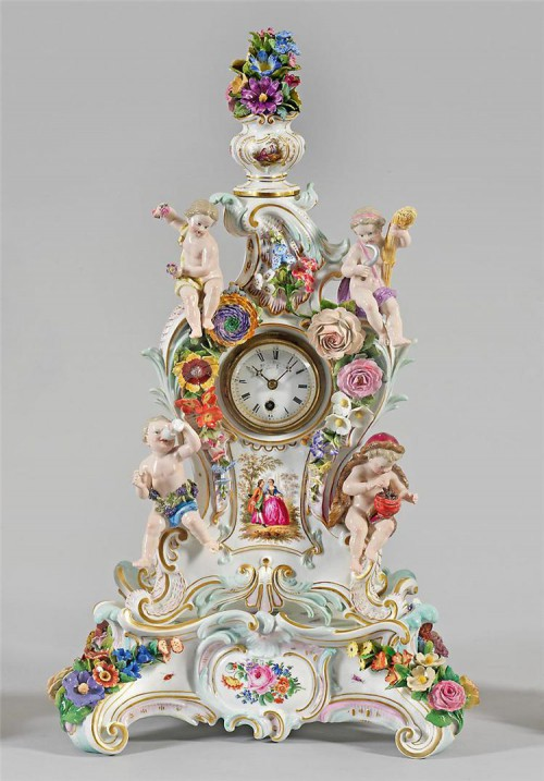 антикварный фарфор часы - 06