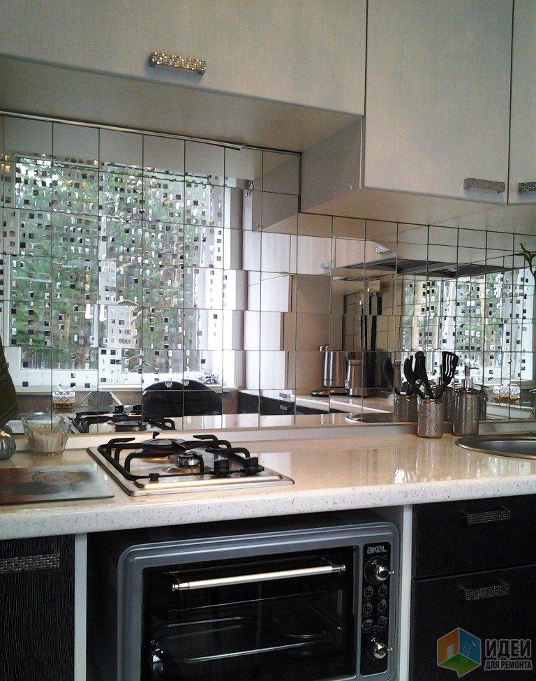 Зеркальный кухонный фартук, красивые кухни фото