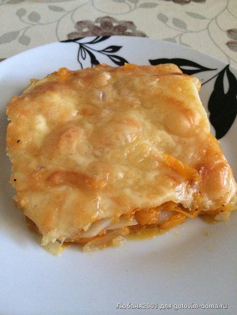 Запеченная тыква с картофелем под сырной корочкой