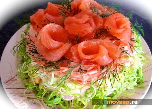 Салат по-царски с семгой рецепт