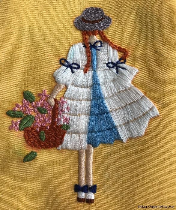 Вышиваем гладью девочку с корзиной цветов — подробный МК в фото