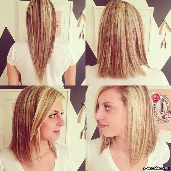 Как сделать длинное каре из длинных волос 14