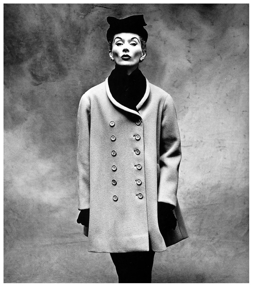 Lisa Fonssagrives in the 'Little Great Coat' by Balenciaga, Vogue, Sept. 1, 1950 Photo Irving Penn.jpg