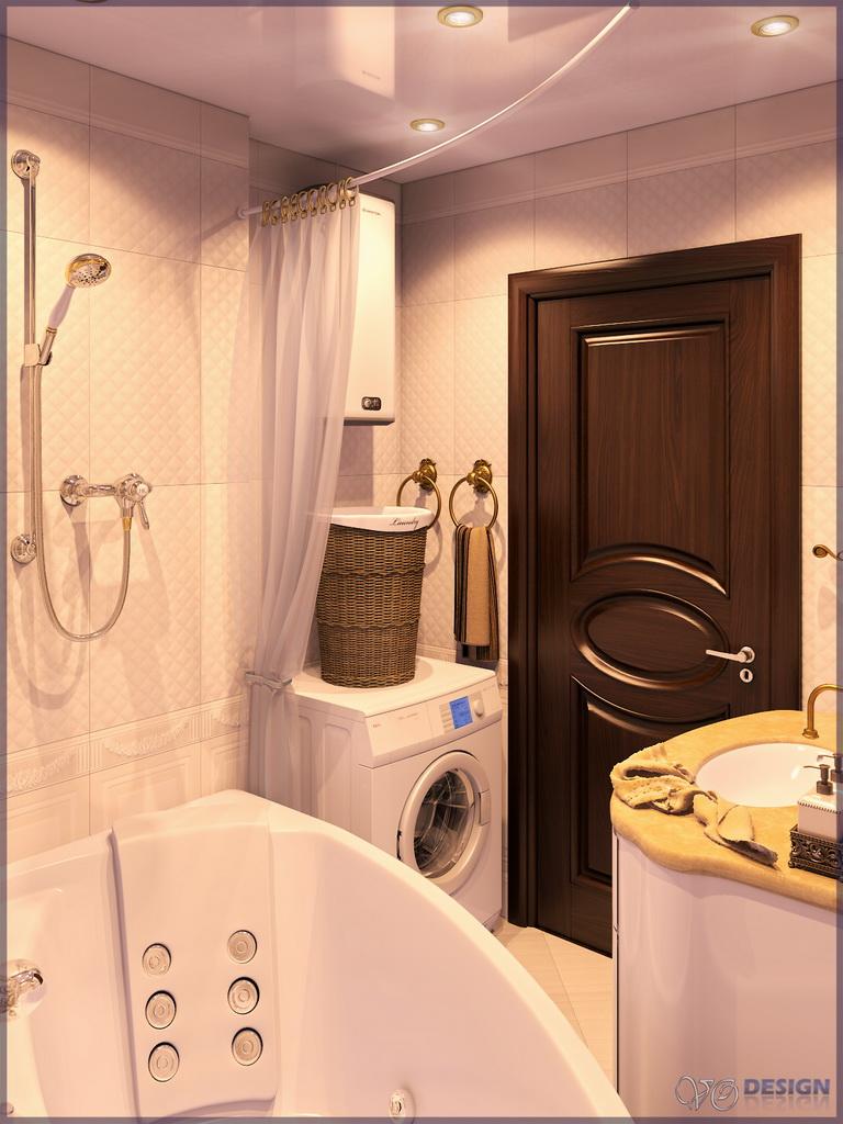 Интерьер ванной в обычной квартире фото ванна напротив раковины
