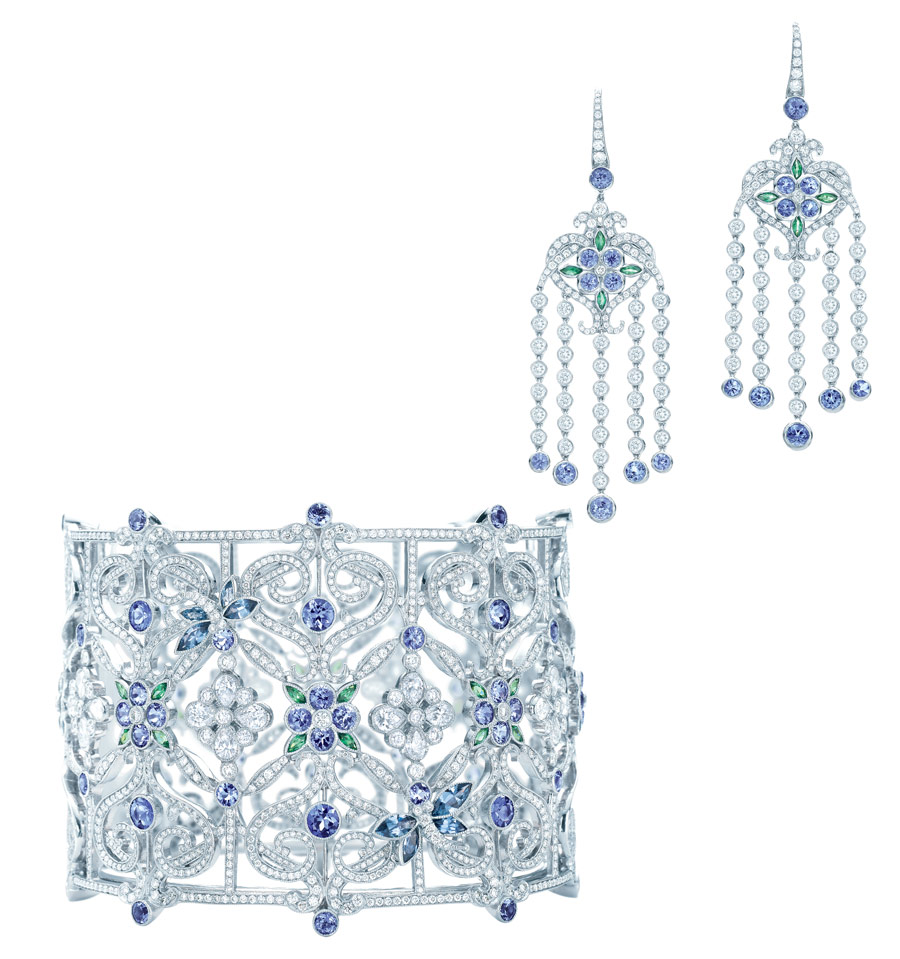 Tanzanites highlight ornate open settings with t