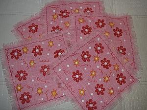 Декорируем салфетки из льна при помощи штампа   Ярмарка Мастеров - ручная работа, handmade