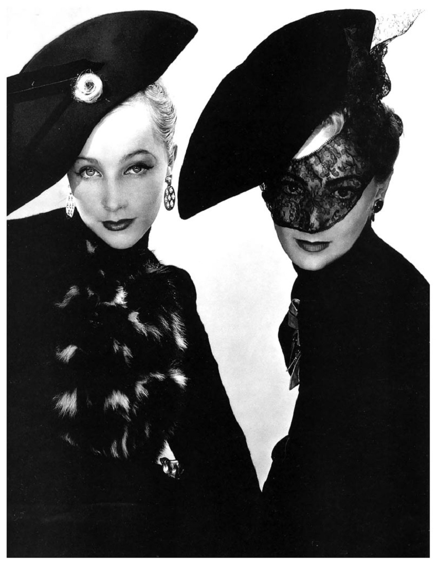 Models, Muth (left) and Lyla Zelensky (right), wearing bicornes by Schiaparelli, unpublished image for French Vogue, Paris, October 1938 Photo Erwin Blumenfeld.jpg