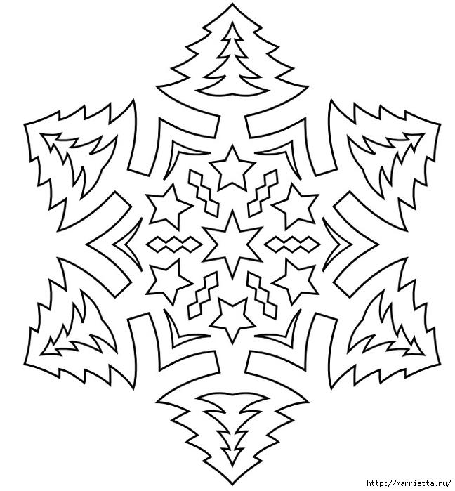 Новогодние снежинки  из бумаги шаблоны на окно