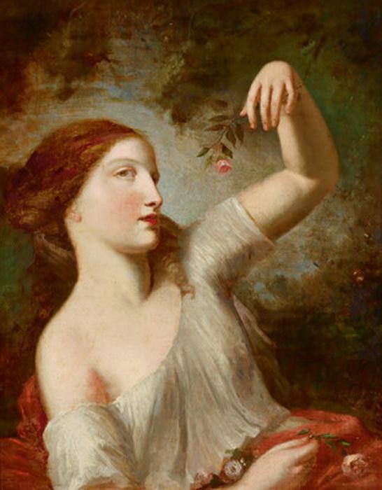 Девушка с розой, Шарль-Жозеф Натуар, 18 век