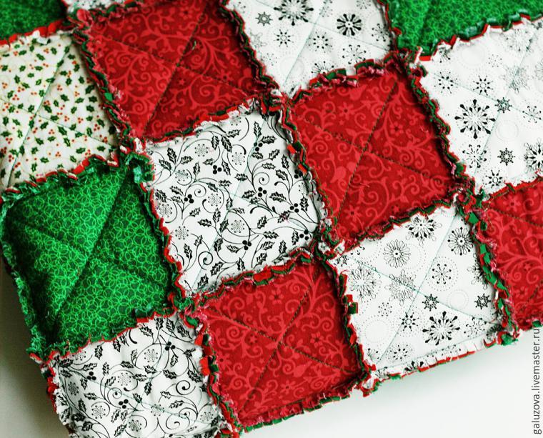 Лоскутный плед «Новогодний» в технике rag quilt