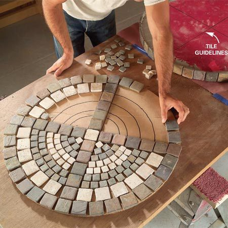 DIY-хау, чтобы сделать открытый стол мозаики