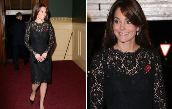 Кейт Миддлтон в в черном кружевном платье до колен от известного итальянского дома моды «Dolce and Gabbana».