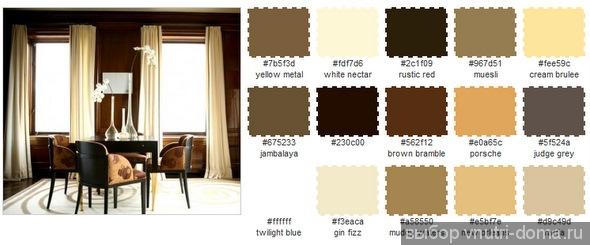 Сочетание цветов, коричневый интерьер
