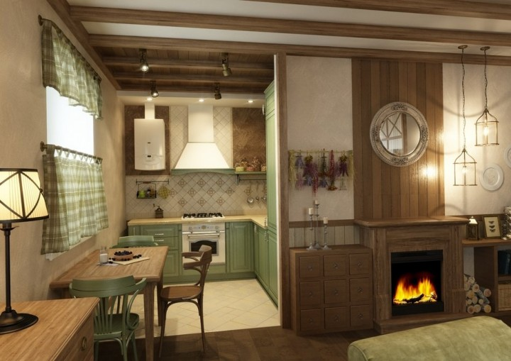 Кухня-гостиная дизайн в стиле кантри