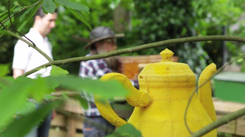 60 000 пчел вылепили миленький чайник. 9 ошеломляющих кадров