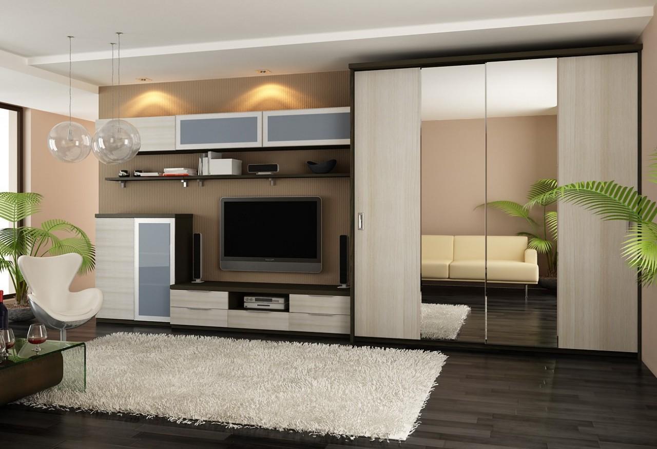 Дизайн гостиной со шкафом купе фото