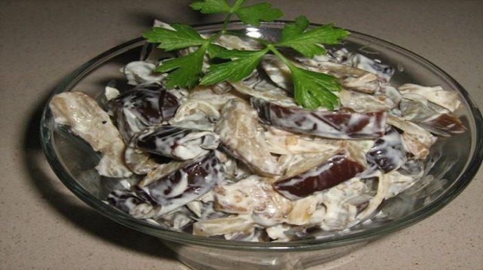 Очень вкусный салат из баклажанов с майонезом