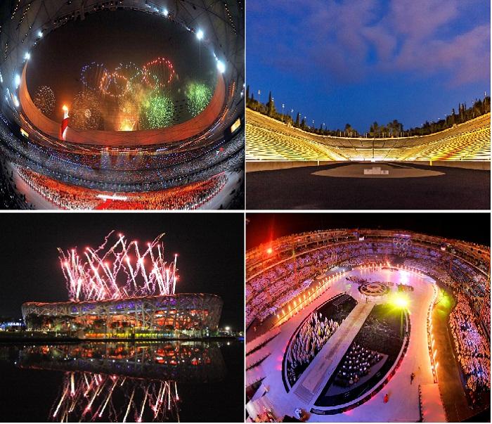 Так выглядели олимпийские стадионы этих городов в день открытия.