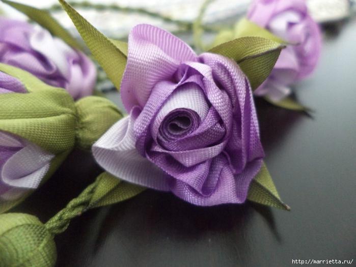 Миниатюрные цветы из ленточек. Мастер-классы (48) (700x525, 240Kb)