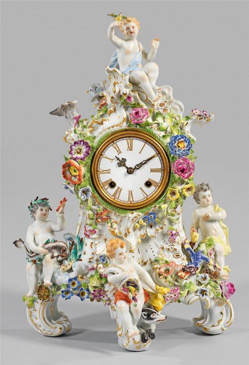 антикварный фарфор часы - 10