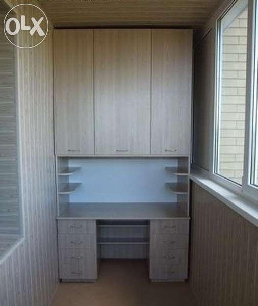 Отделка балкона лоджий со встроенной мебелью.