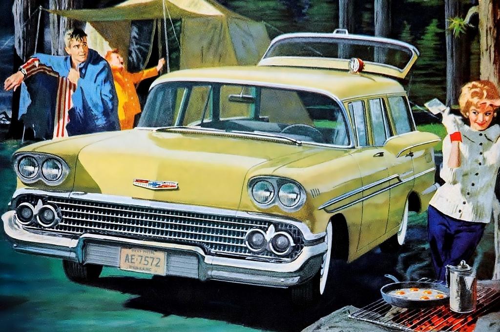 1958 год, Chevrolet Brookwood. Классический американский универсал на базе Chevrolet Biscayne первого поколения (в те годы универсалы, седаны и купе одной модели получали разные названия). chevrolet, автодизайн, красота