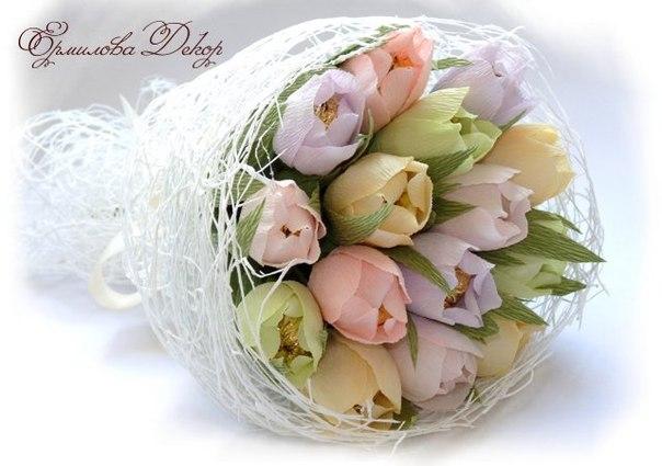 Букет тюльпанов из конфет своими руками на 8 марта
