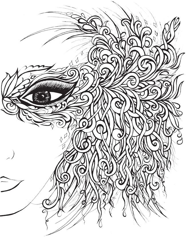Creative Haven Fanciful Faces Coloring Book Welcome to Dover Publications - or use this design duplicated as a pattern for a quilled mask.: