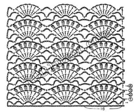 Вязание крючком рисунка веер