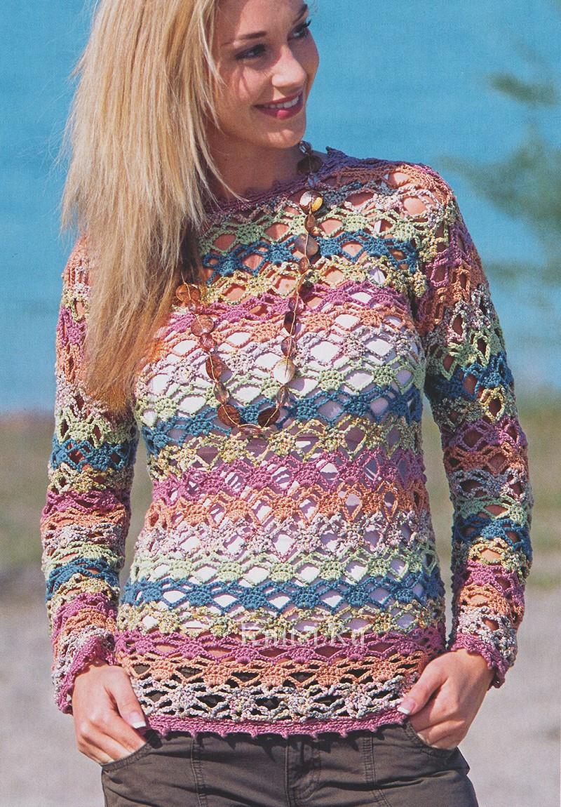 Ажурный пуловер в разноцветн…