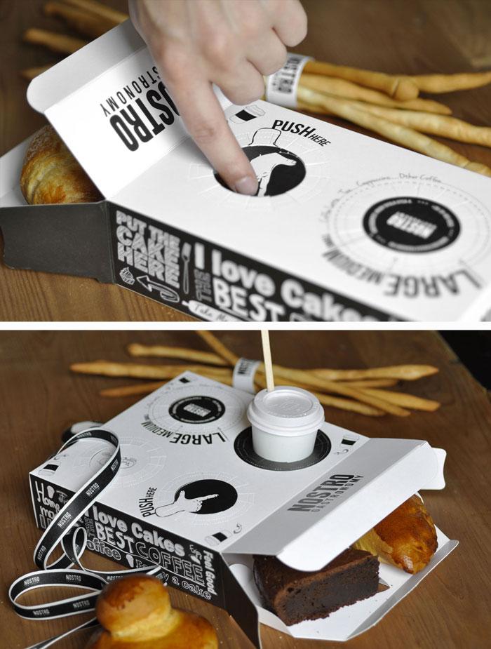 Hand free - коробка для круассанов и подставка под кофе в одной упаковке
