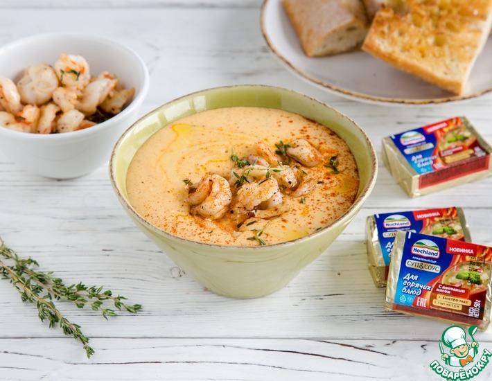 Сырный крем-суп с чесночными креветками
