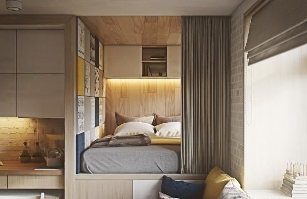 Уголок для спальни в маленькой квартире студии 40 кв м