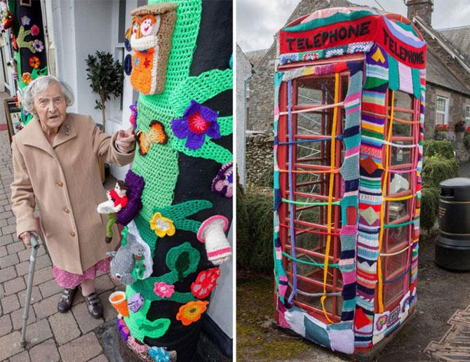 104-летняя уличная художница создаёт вязаные шедевры по всему городу