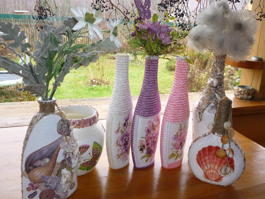 вазы из яичной скорлупы  с применением декупажа и бусин,много идей,мастер класс,мк, декорирование бутылок,из подручного материала,своими руками,яичная скорлупа,декупаж,декорирование бусинами,бисером,красивые вазы,украшение интерьера,декорирование предметов