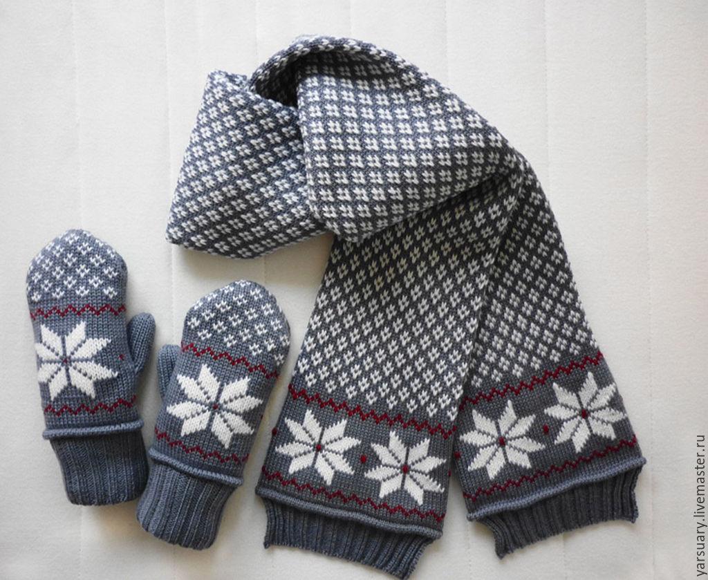 Вязание варежек и шарфов для детей 24