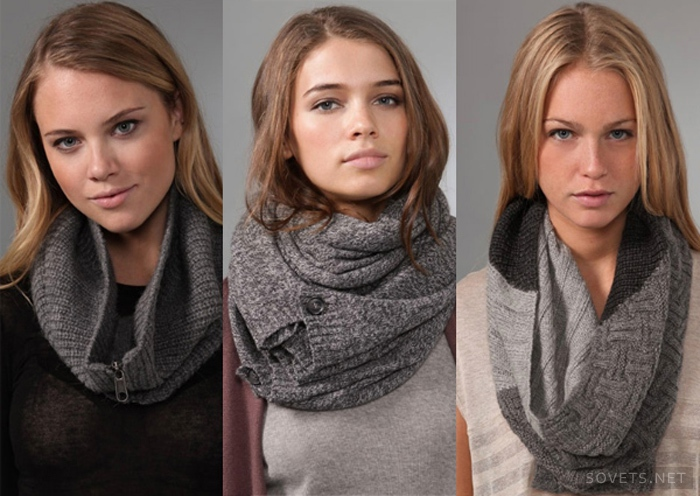 Как правильно носить шарф-снуд..