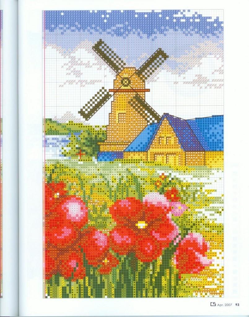 Вышивка крестом украинский пейзаж