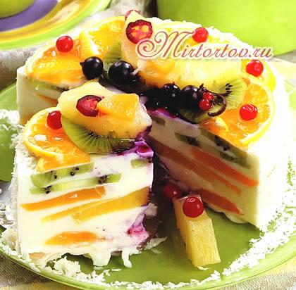 Торт творожный с фруктами картинки