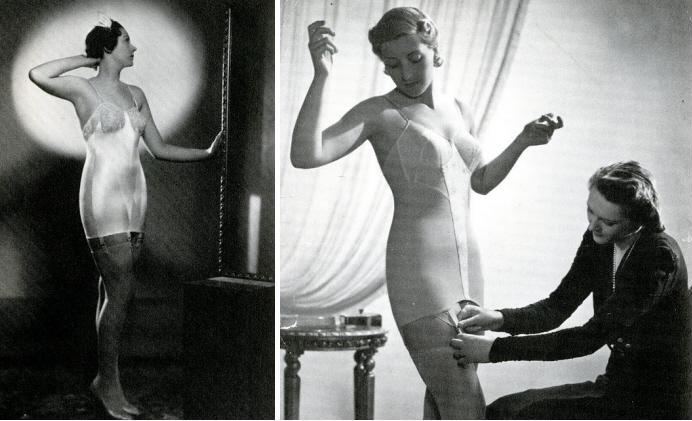 Распространение эластичных тканей в 1930-х изменило крой корсетов. Для придания фигуре стройности уже не требовались жесткие планшетки или шнуровка. В результате появились такие модели корсетов, как roll-on и corselette, напоминавшие скорее широкий обтягивающий пояс, чем сложную конструкцию из металла и китового уса.