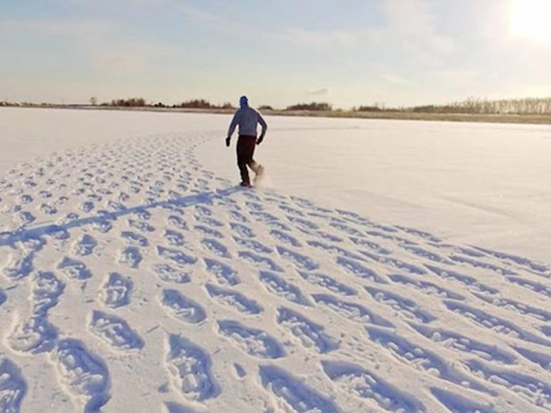 Он шагал по снегу весь день, чтобы создать этот шедевр...  (потрясающие фотографии)
