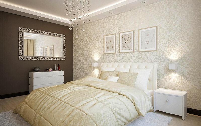 Интерьер бежевой спальни с акцентной стеной.
