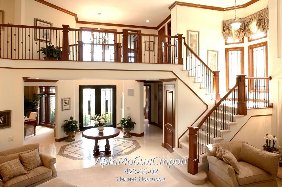 Дизайн дома с лестницей на второй этаж в частном доме