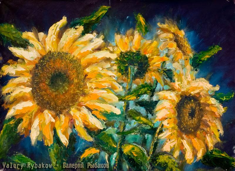 подсолнухи - живопись цветы